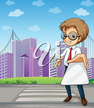 Illustration of a man at the pedestrian lane across the buildings