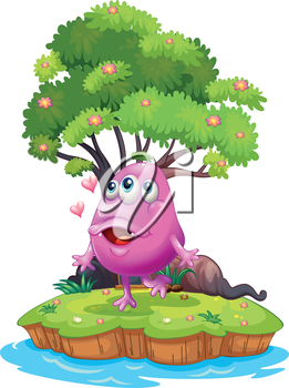 Illustration of an island with a pink monster near the giant tree on a white background