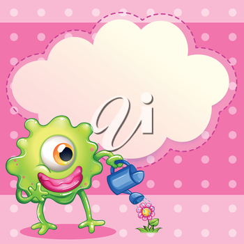 Illustration of a green one-eyed monster watering the plant