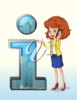 Illustration of a woman using a cellphone standing beside the number one symbol on a white background