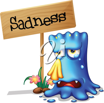 Illustration of a very sad blue monster crying near a wooden signage on a white background