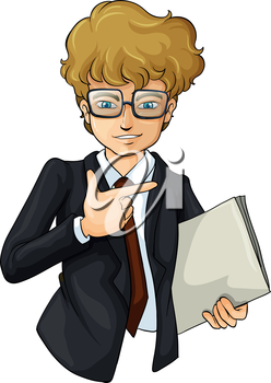 Illustration of a handsome businessman on a white background