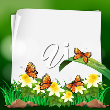 Paper template with butterflies in garden illustration