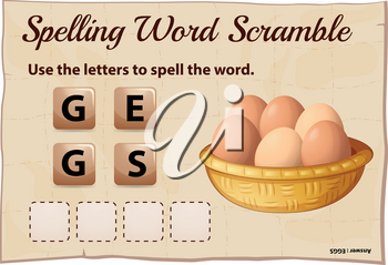 Spelling word scramble game template with word eggs illustration