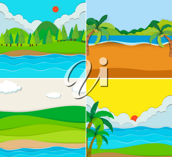 Four scenes of beach and river illustration