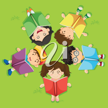 Kids reading book on green grass illustration