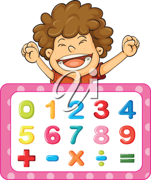Font design for numbers and signs illustration