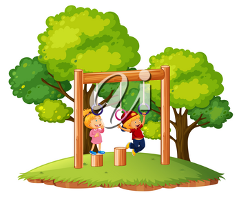 Children playing on monkey bars illustration