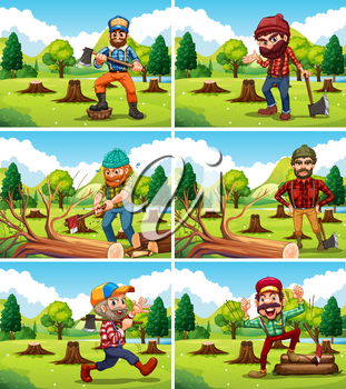 Different deforestation scene with lumberjacks illustration