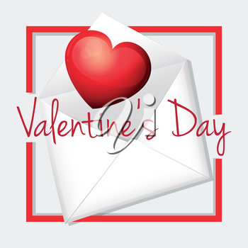 Valentine card template with heart in envelope illustration