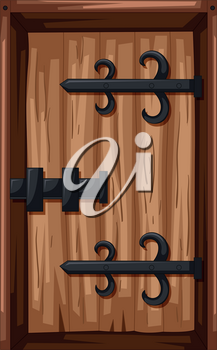 Old style of wooden door illustration