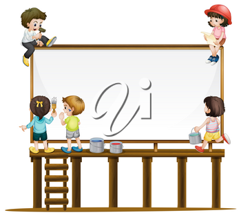 Many children painting the board illustration