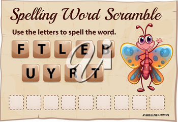 Spelling word scramble game with word butterfly illustration