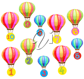 Counting numbers on colorful balloons illustration