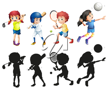 Boys and girls doing sports illustration