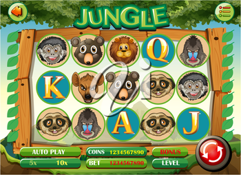Computer game template with jungle theme illustration