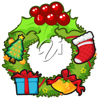 Christmas wreath with mistletoes and bell illustration