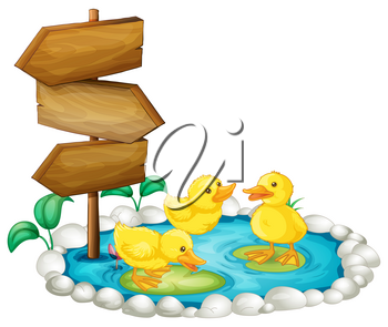 Wooden sign and ducks in the pond illustration
