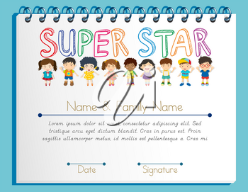 Certificate template for super star with many children illustration