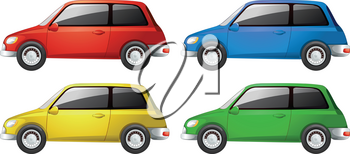 Cars in four different colors illustration