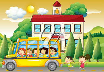 Students riding school bus to school illustration
