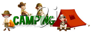 Font design with word camping illustration