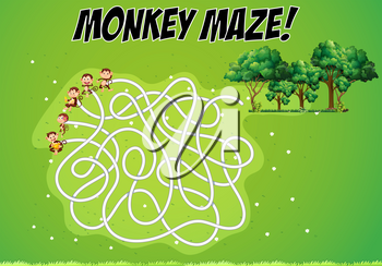 Maze game with monkeys and forest illustration