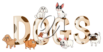 Word design with cute dogs illustration
