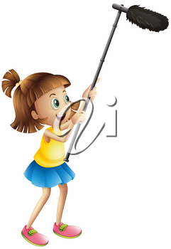 Girl holding microphone for filming movie illustration