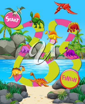 Game template with dinosaurs on the beach illustration