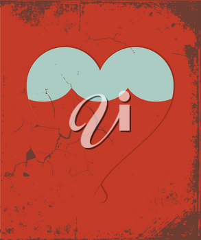 Royalty Free Clipart Image of a Retro Heart Poster
