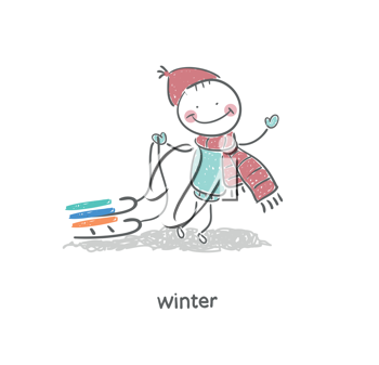Man and sleigh. Illustration.