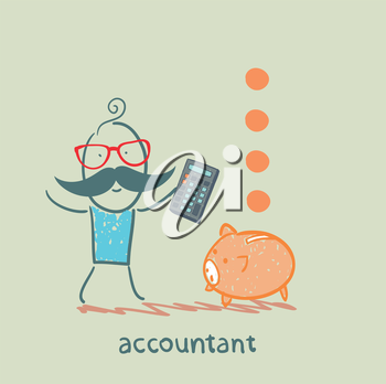 accountant with a calculator counting money falling into a pig-coin box