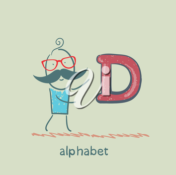 man standing with a letter of the alphabet
