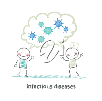 infectious diseases specialist says with a patient about infection