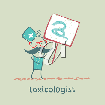 Toxicologist holds a placard on which painted a snake