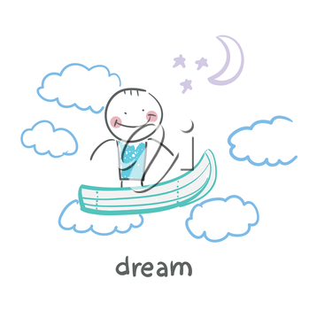 man flying in a dream boat