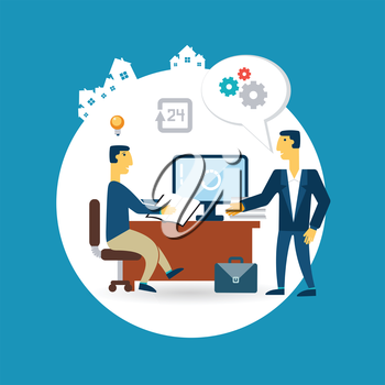 businessman working at his desk and talking with the head illustration