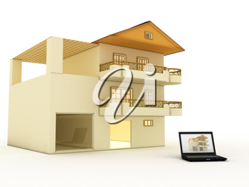Royalty Free Clipart Image of Construction According to Design on Laptop