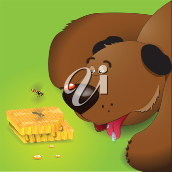 Royalty Free Clipart Image of a Brown Bear Watching Honey