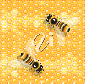 Royalty Free Clipart Image of Bees on Honeycombs