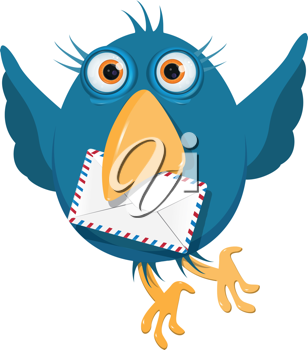 Royalty Free Clipart Image of a Bluebird With an Envelope