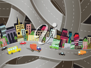Royalty Free Clipart Image of a Highway Through a City
