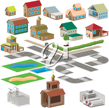 Royalty Free Clipart Image of a Set of City Icons