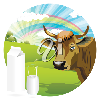 Royalty Free Clipart Image of a Cow