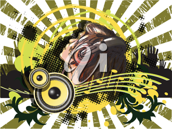 Royalty Free Clipart Image of an Abstract Design With a DJ