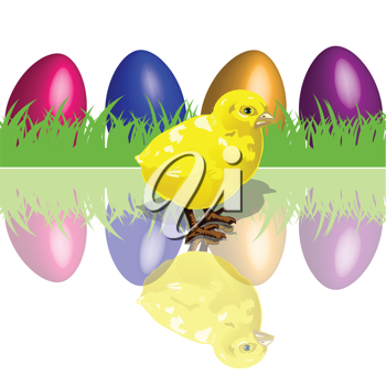 Royalty Free Clipart Image of a Chicken and Colorful Eggs