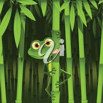 Royalty Free Clipart Image of a Frog on Bamboo