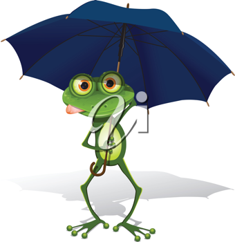 Royalty Free Clipart Image of a Frog Holding an Umbrella