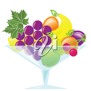 Royalty Free Clipart Image of a Cup of Fruit